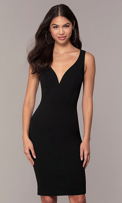 Short Black Knee-Length Cocktail Party Dress by Simp
