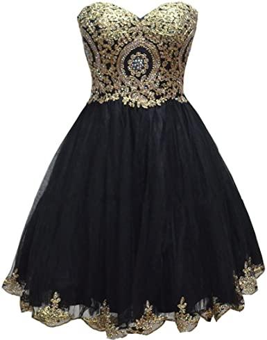Amazon.com: Lemai Tulle Little Black Short Gold Lace Corset Prom .