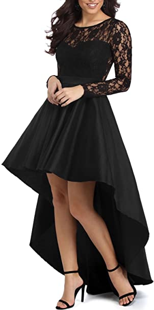 Elapsy Womens Long Sleeve Lace High Low Satin Prom Evening Dress .