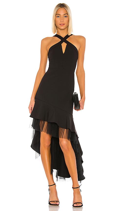 BCBGMAXAZRIA Hi Low Cocktail Dress in Black   REVOL