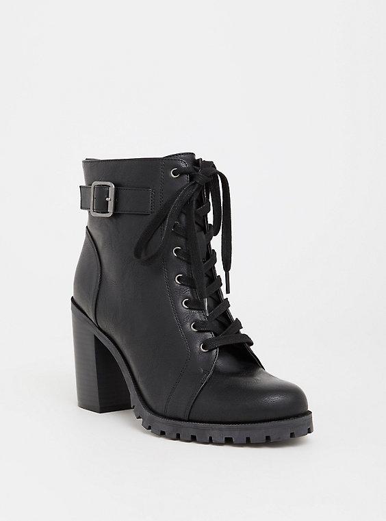 Plus Size - Black Faux Leather Combat Boot (Wide Width) - Torr