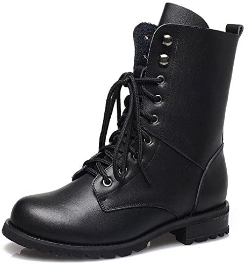 Amazon.com | Women Combat Boots Military Boots Faux Leather Lace .
