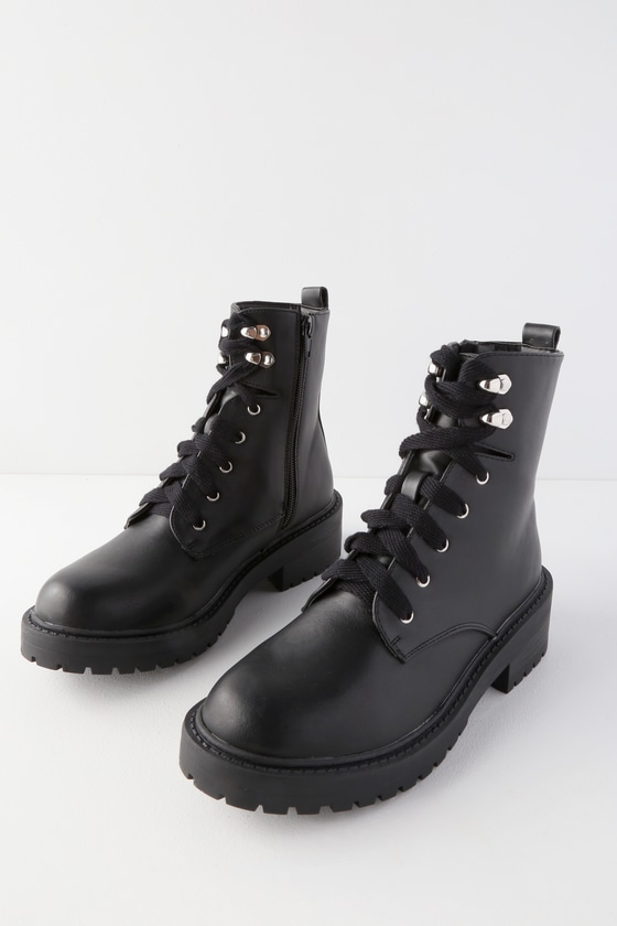 Madden Girl Alicee - Black Boots - Lace-Up Boots - Combat Boo