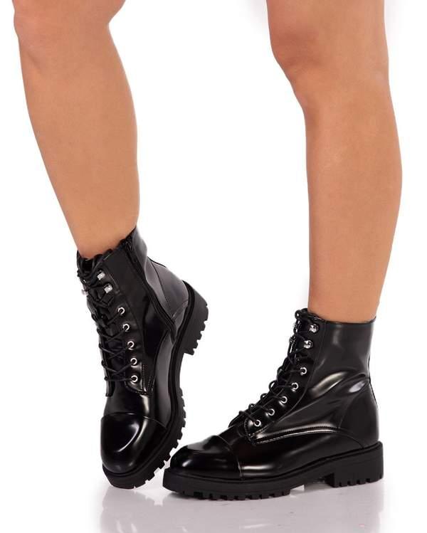 Black Shiny Combat Boots - iHeartRav