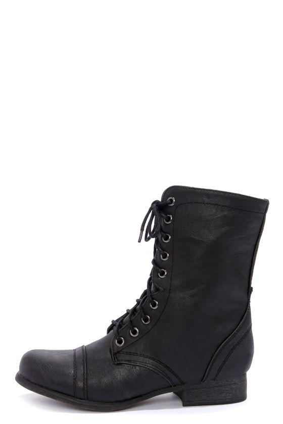 Cute Black Boots - Combat Boots - Lace-Up Boots - $59.
