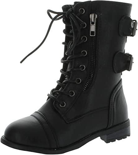 Amazon.com | Link Mango-61K Girls Zipper Military Combat Boot | Boo