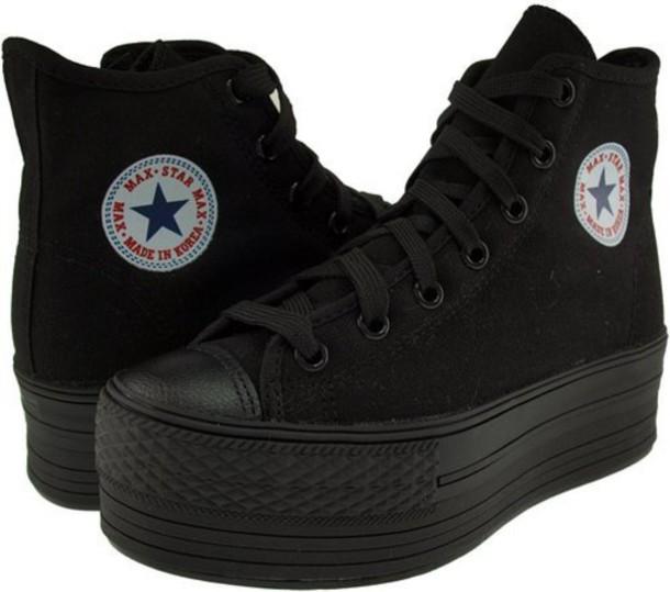 shoes, platform converse, black, platform shoes, converse, high .