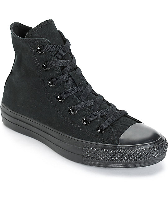 Converse Womens Chuck Taylor All Star All Black High Top Shoes .