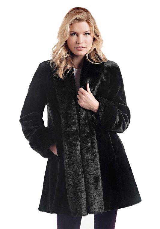 Black Sheared Beaver Tuxedo Faux Fur Coat | Womens Faux Fur Coa