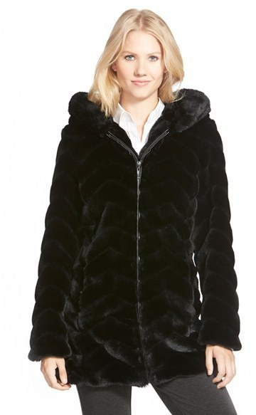 Gallery Hooded Chevron Faux Fur Coat, $318 | Nordstrom | Lookastic.c
