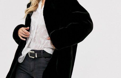 Mango faux fur coat in black | AS