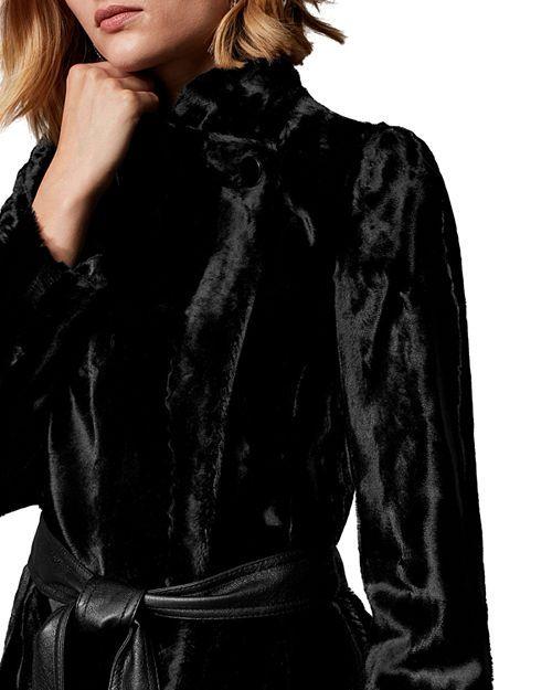 KAREN MILLEN - Belted Faux Fur Coat. | Womens faux fur coat, Black .
