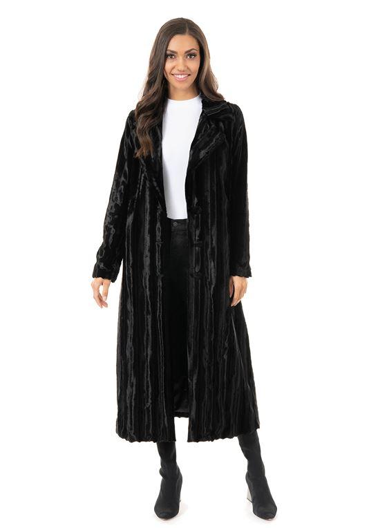 Women's Glossy Black Mink Socialite Maxi Faux Fur Co