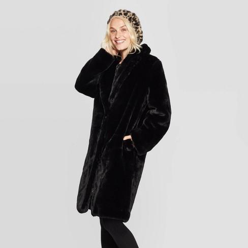 Women's Lapel Collar Faux Fur Coat - A New Day™ Black : Targ
