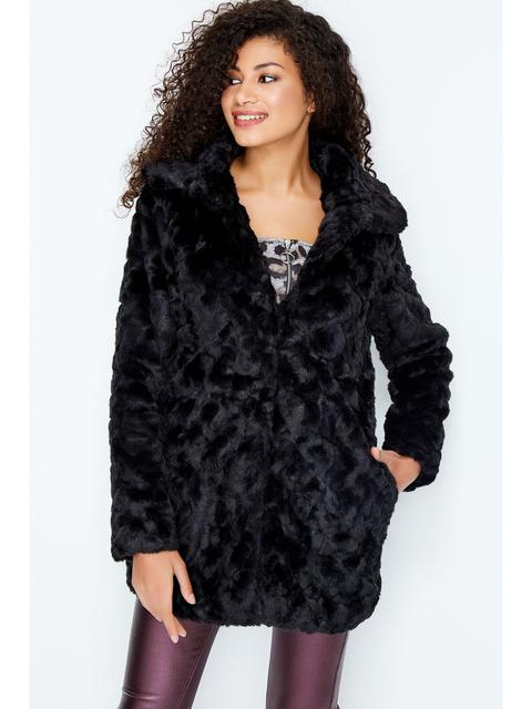 Black Textured Longline Faux Fur Coat from Select on 21 Butto