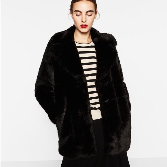 Zara Jackets & Coats | Black Woman Faux Fur Coat | Poshma