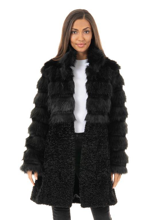 Black Fox Metropolitan Faux Fur Coat | Womens Faux Fur Coa