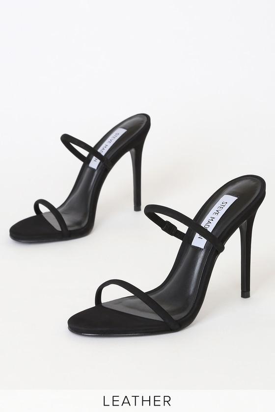 Steve Madden Mina - Black High Heel Sandals - Black Hee