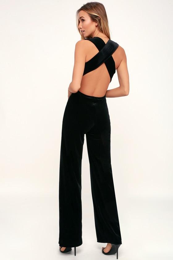 Sexy Black Jumpsuit - Black Velvet Jumpsuit - Backless Jumpsu