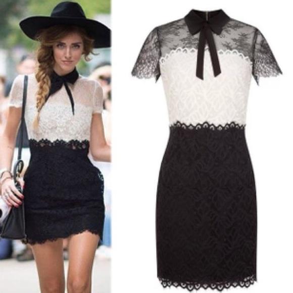 Sandro Dresses | Black And White Lace Dress | Poshma