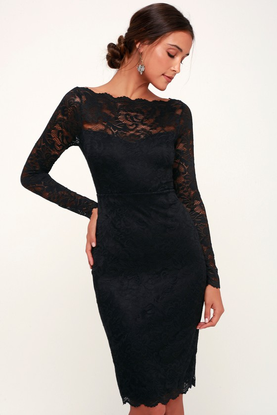 Cute Black Lace Dress - Lace Bodycon Dress - Long Sleeve Dre
