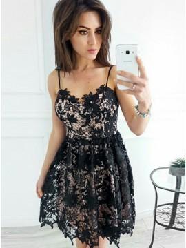 Spaghetti Square Lace Black Short Formal Dress, | PrettyLa