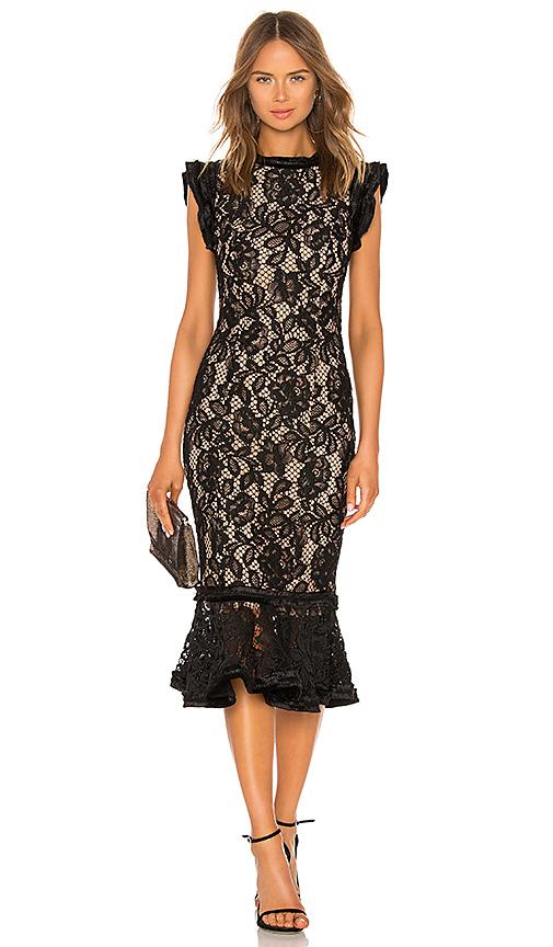 Alexis Kleo Midi Dress in Black Lace | REVOL