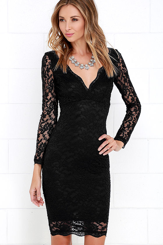 Lace Dress - Black Dress - Long Sleeve Dress - Bodycon Dress - $49.