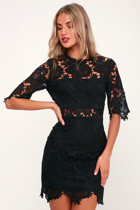 Sexy Black Dress - Black Lace Dress - Black Lace Sheath Dre