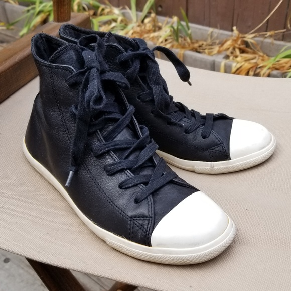 Converse Shoes | Black Leather High Tops Wall White Base | Poshma