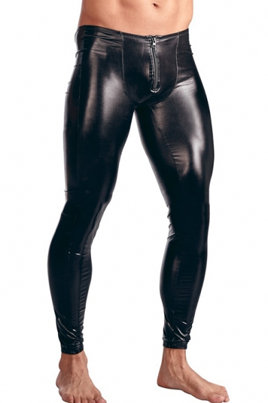 Men's Fashion Solid Color Sexy Black Zip-fly Skinny Leather Pants .
