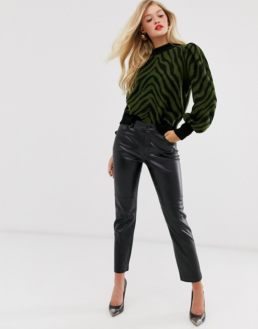 Mango faux leather pants in black | AS