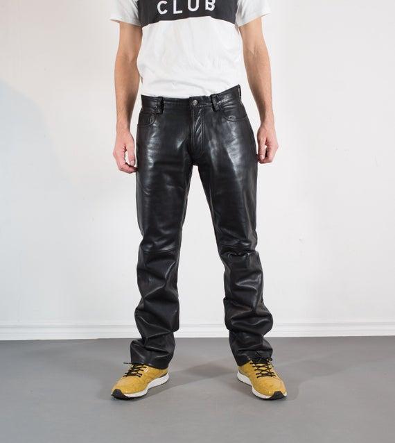 Vintage Mens Black Leather Pants W32 GAP Pants | Et