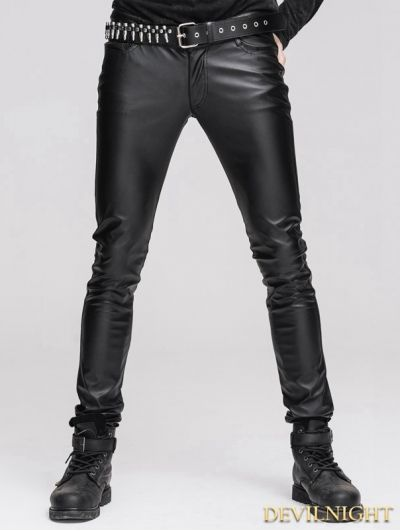 Black Tight Gothic Leather Pants for Men | Mens leather pants .