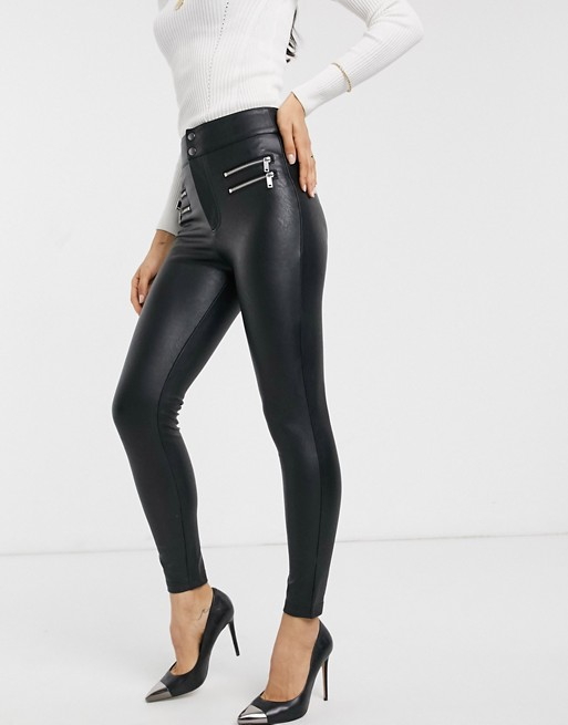 Stradivarius faux leather pants with zip detail in black | AS