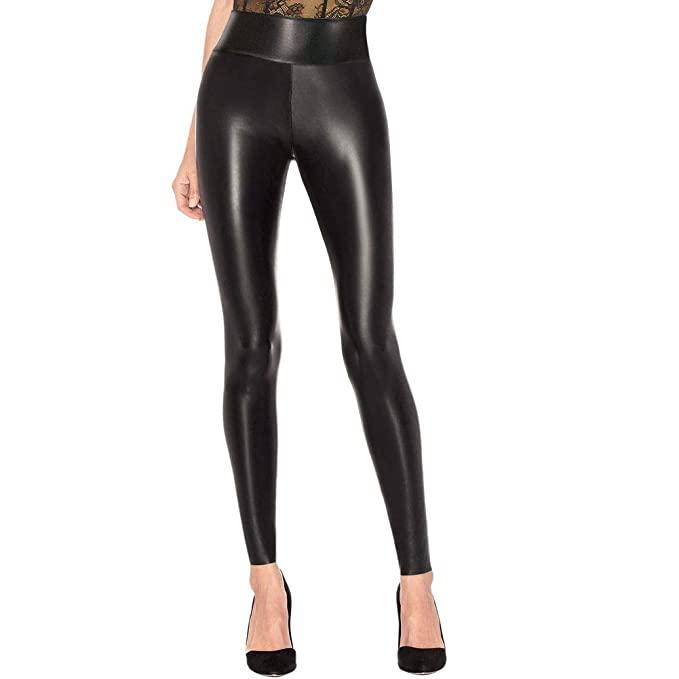 LAKOSMO Faux Leather Leggings for Women Petite, Black Leather .