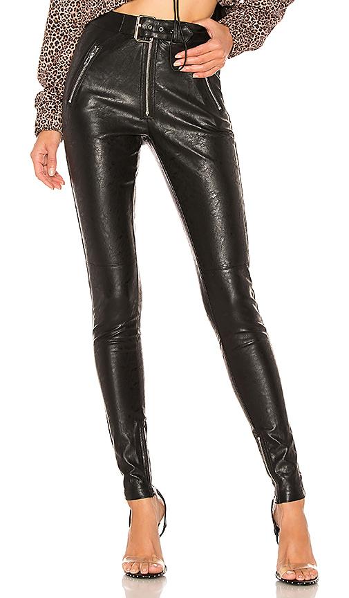 DANIELLE GUIZIO Belted Leather Pants in Black | REVOL
