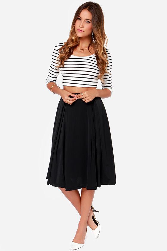 Cute Black Skirt - Midi Skirt - Full Skirt - $40.
