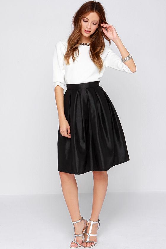 Chic Black Skirt - Midi Skirt - Skater Skirt - Pleated Skirt - $34.