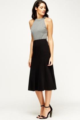Black Midi Skirt - Just