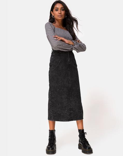 Black Midi Highwaist Denim Skirt | Lyra – motelrocks.c