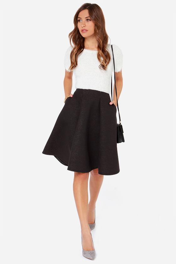 Black Skirt - Flared Skirt - Midi Skirt - $45.