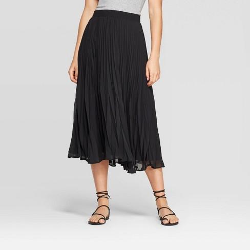 Women's Mid-Rise Pleated Midi Skirt - A New Day™ Black : Targ
