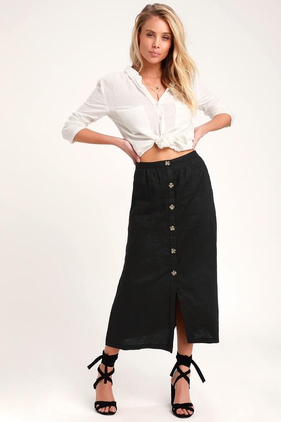 Rhythm Amalfi - Washed Black Skirt - Button-Up Skirt - Midi Ski