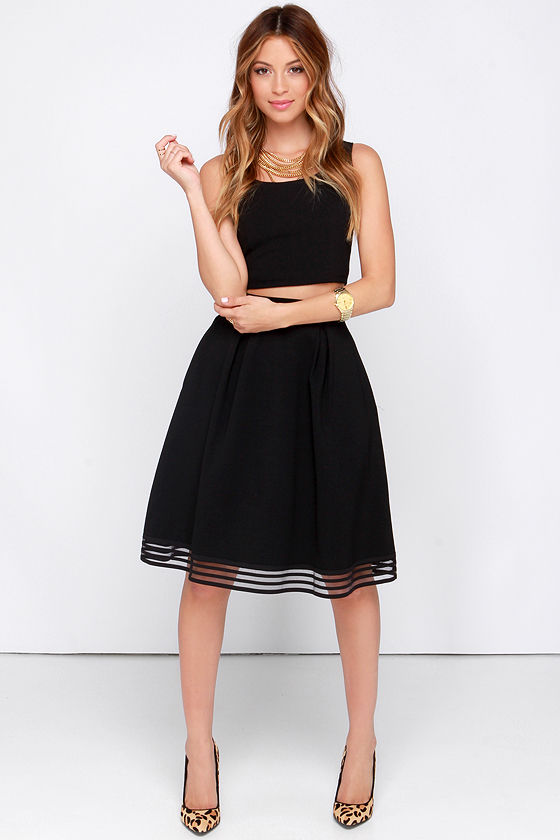 Chic Black Skirt - Midi Skirt - High Waisted Skirt - $40.