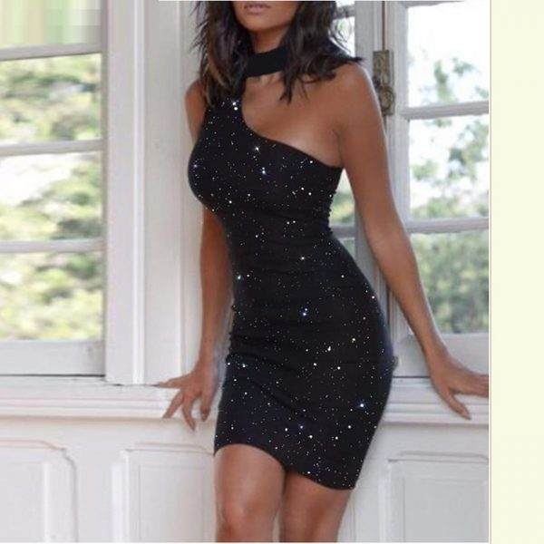 Women Glitter Choker Sleeveless Cut Out Bodycon Dress Sexy Black .