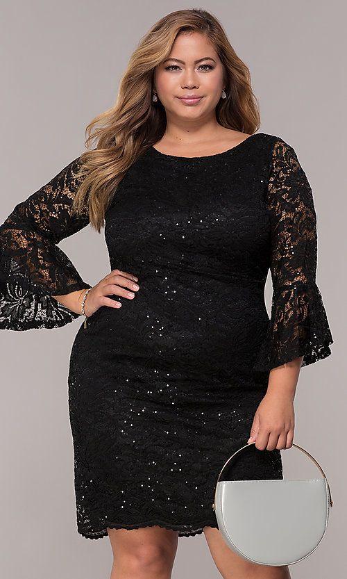 Sequin-Lace Plus-Size Short Black Party Dress in 2020 | Plus size .