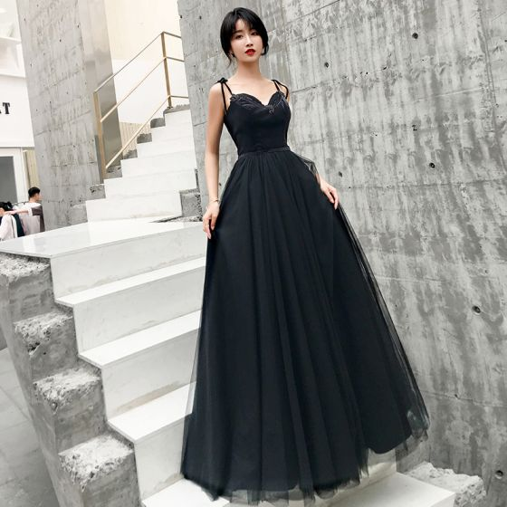 Chic / Beautiful Black Prom Dresses 2019 A-Line / Princess .