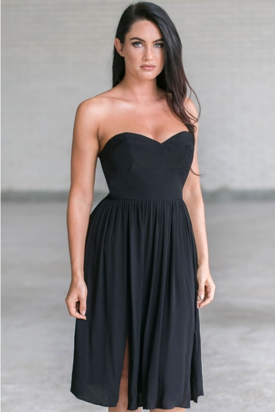 Black Strapless Midi Dress, Cute Black Dress Online, Black .