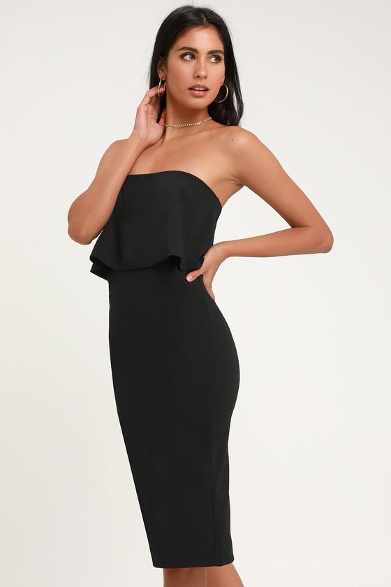 Cute Black Dress - Black Strapless Dress - Black Midi Dre